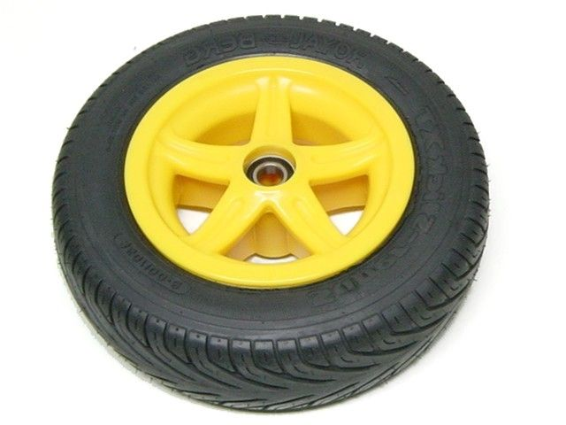 Wheel 5-spoke yellow 350/100-8 slick left