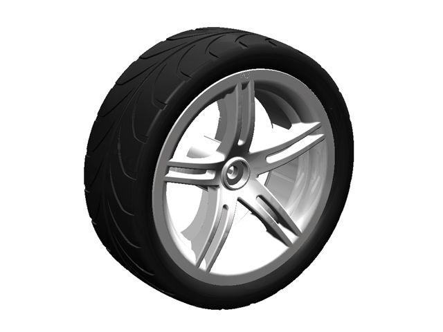 Wheel silver 4.30/150-12 slick right