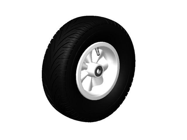 Wheel white 400/140-8 slick right