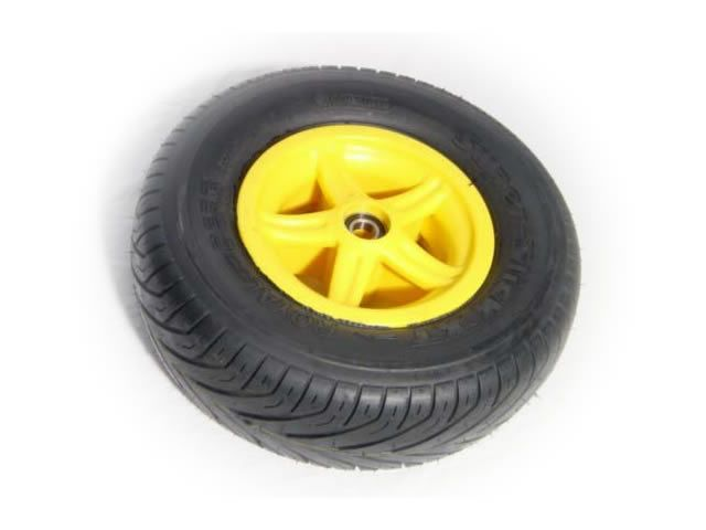Wheel 5-spoke yellow 400/140-8 slick right