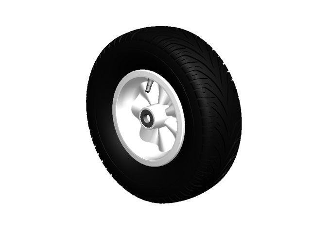 Wheel white 400/140-8 slick left