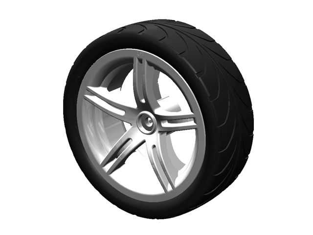 Wheel silver 4.30/150-12 slick left