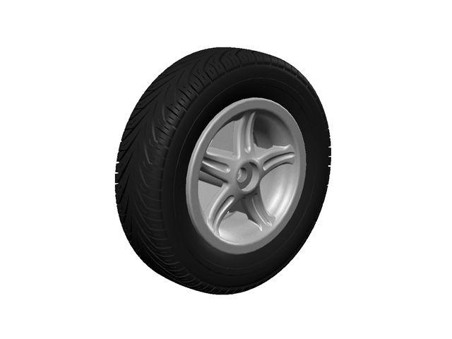 Wheel 5-spoke silver 350/100-8 slick right