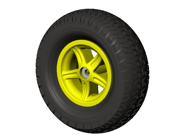 Wheel 5-spoke yellow 16x6.50-8