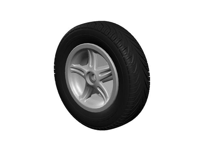 Wheel 5-spoke silver 350/100-8 slick left