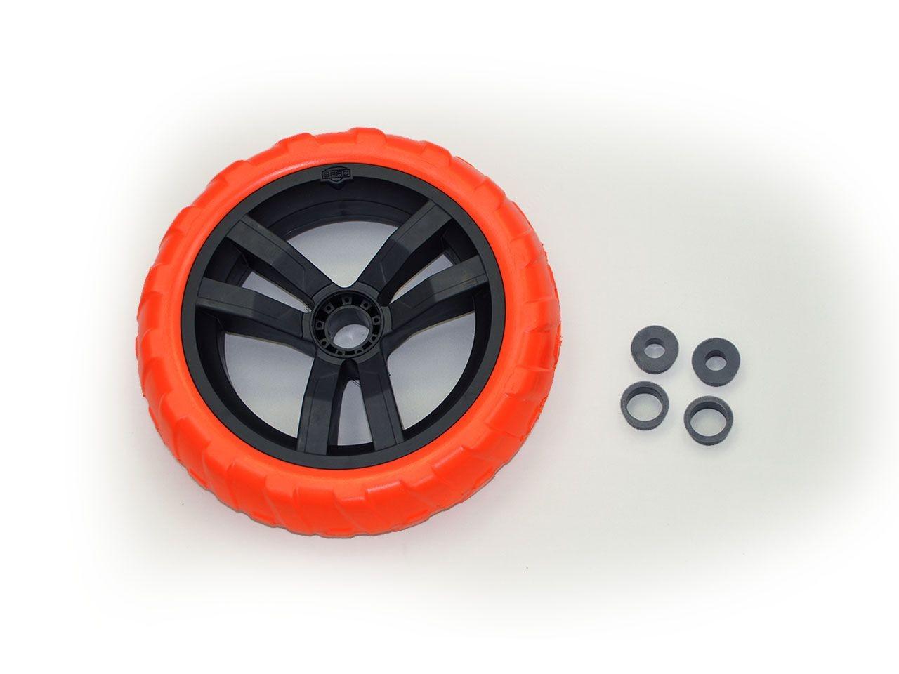 Wheel black-orange 9x2 left (blue cover)