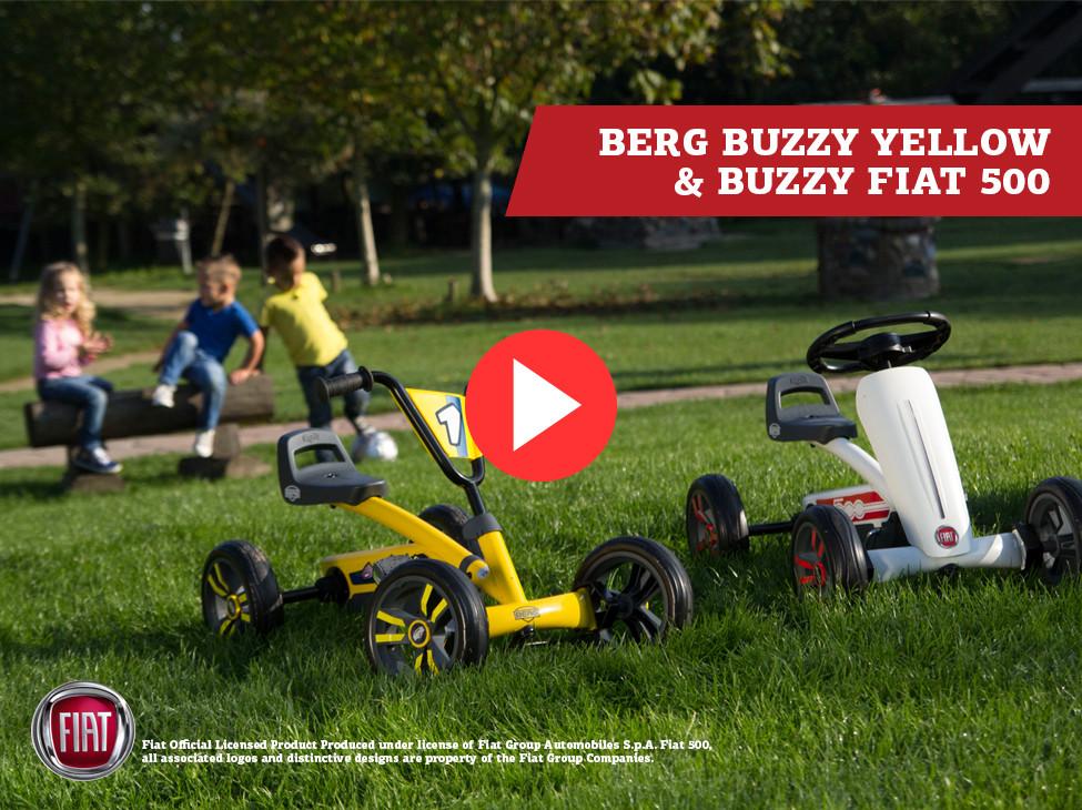 BERG Buzzy Yellow & BERG Buzzy Fiat 500 pedal go-karts
