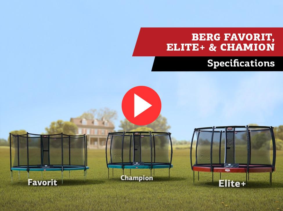 BERG Favorit, Champion en Elite+ trampoline | specificaties