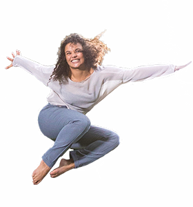 Image of woman jumping on a BERG Trampoline
