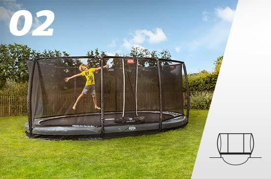 Le trampoline enterré avec Filet De Sécurité