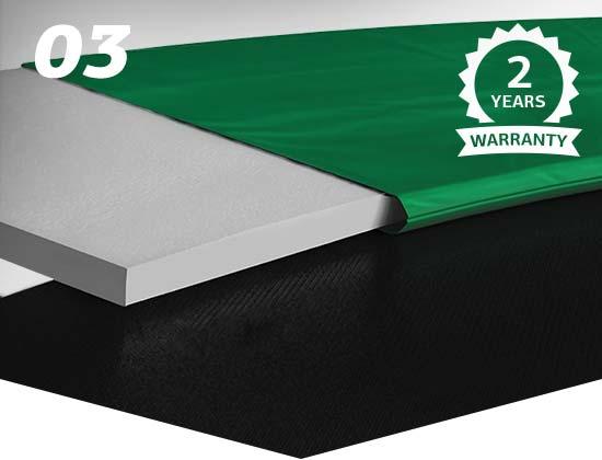 Extra säker tack vare det tjocka kantskyddet i polyvinylklorid (PVC)